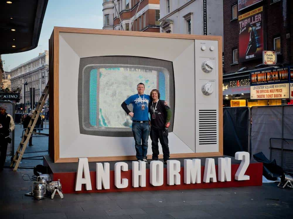 Giant old style TV for the Anchorman 2 red carpet event.