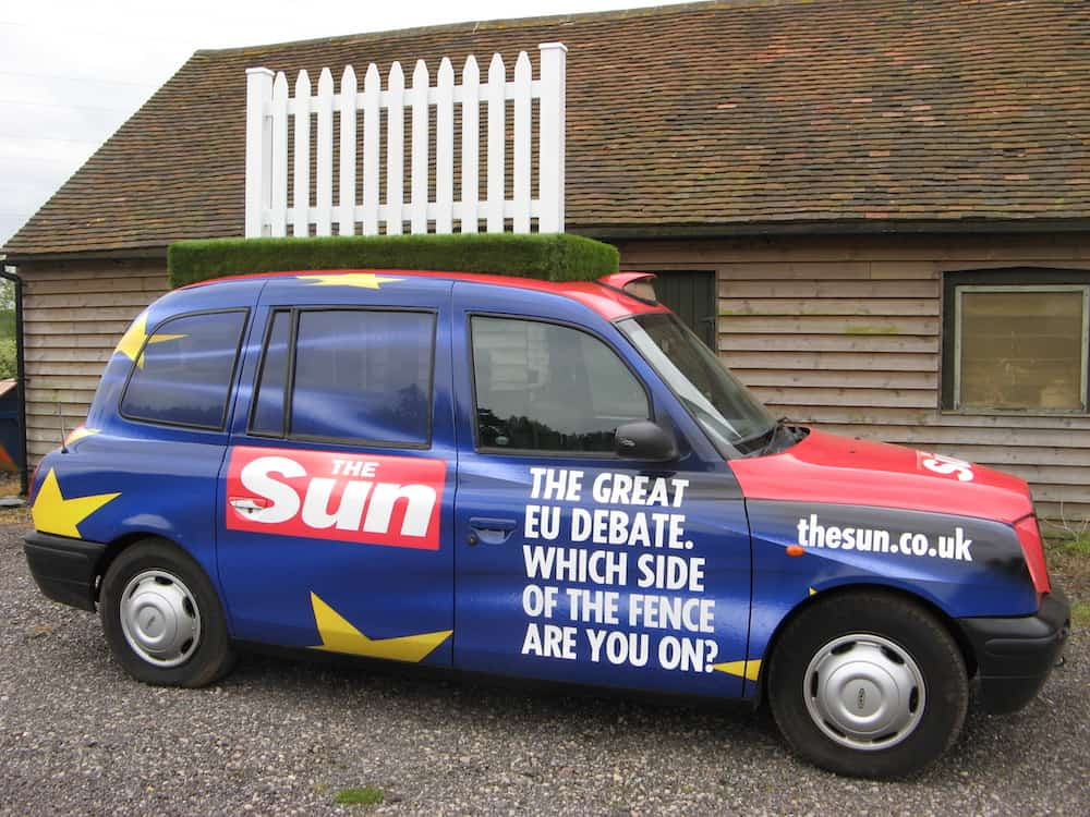 The Sun 'Which side of the fence are you on?' Taxi.